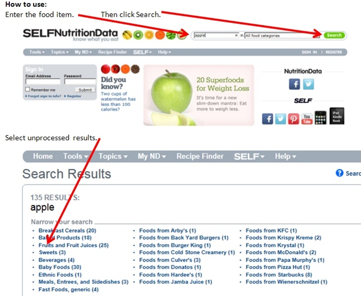 1 SelfNutritionData enter food item select results