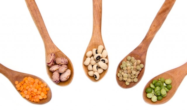 Legumes on Wooden Spoons