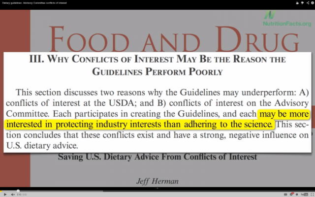 Dietary Guidelines: Advisory Committee Conflicts of Interest