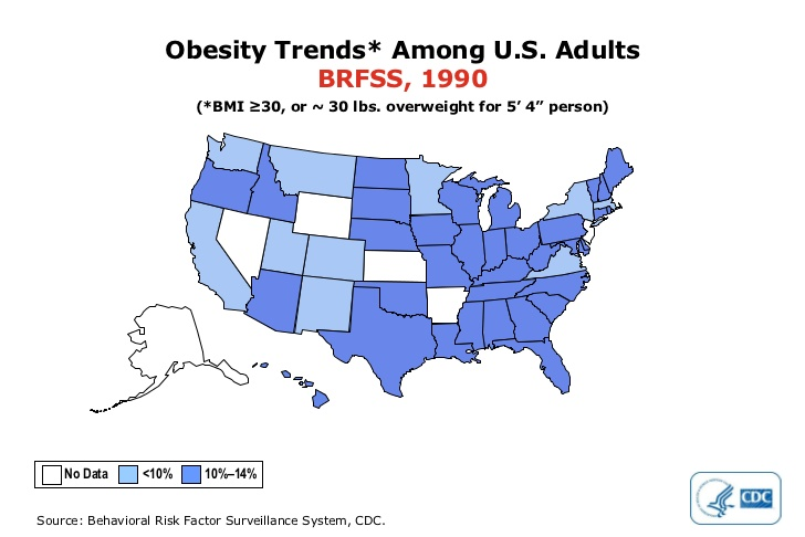 Obesity Trends Data DrCarneycom Blog - Map of obesity in the us